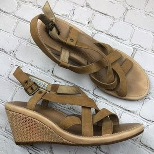 UGG Gaiana Suede Leather Strappy Wedge Sandals 9.5